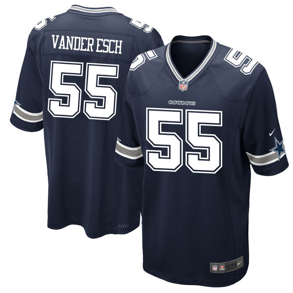 Men's Dallas Cowboys #55 Leighton Vander Esch Navy 2018 NFL Draft First Round Pick Game Jersey