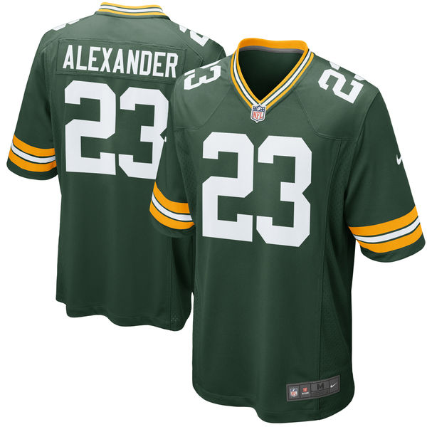 Men's Green Bay Packers #23 Jaire Alexander Green 2018 NFL Draft First Round Pick Game Jersey
