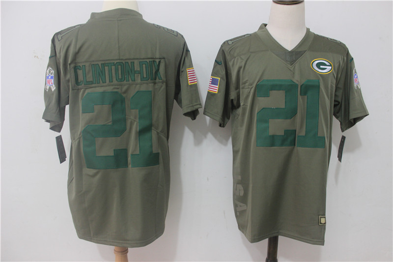 Men's Nike Green Bay Packers #21 Ha Ha Clinton-Dix Olive Salute To Service Limited Stitched NFL Jersey