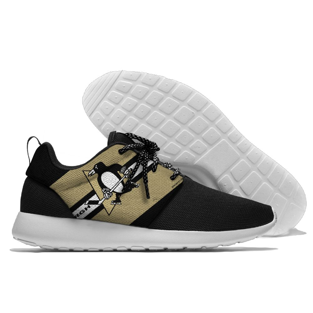 Women's NHL Pittsburgh Penguins Roshe Style Lightweight Running Shoes 002