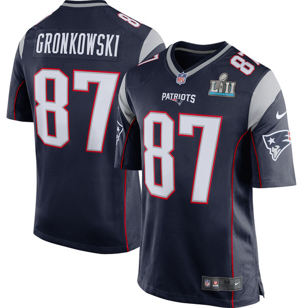 Men's New England Patriots Rob Gronkowski Navy Super Bowl LII Bound Game Jersey