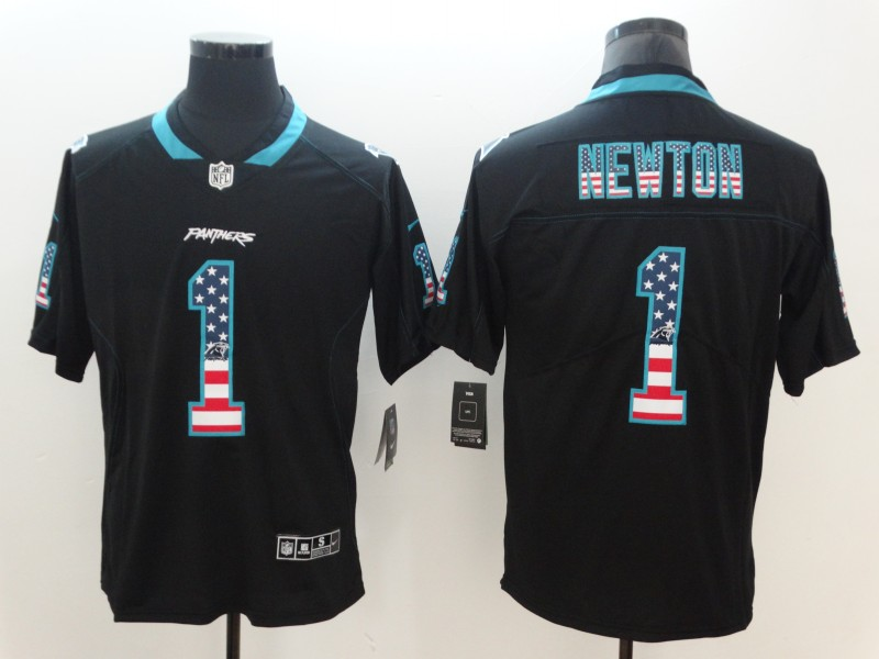 Men's Panthers #1 Cam Newton 2018 Black USA Flag Color Rush Limited Fashion NFL Stitched Jersey