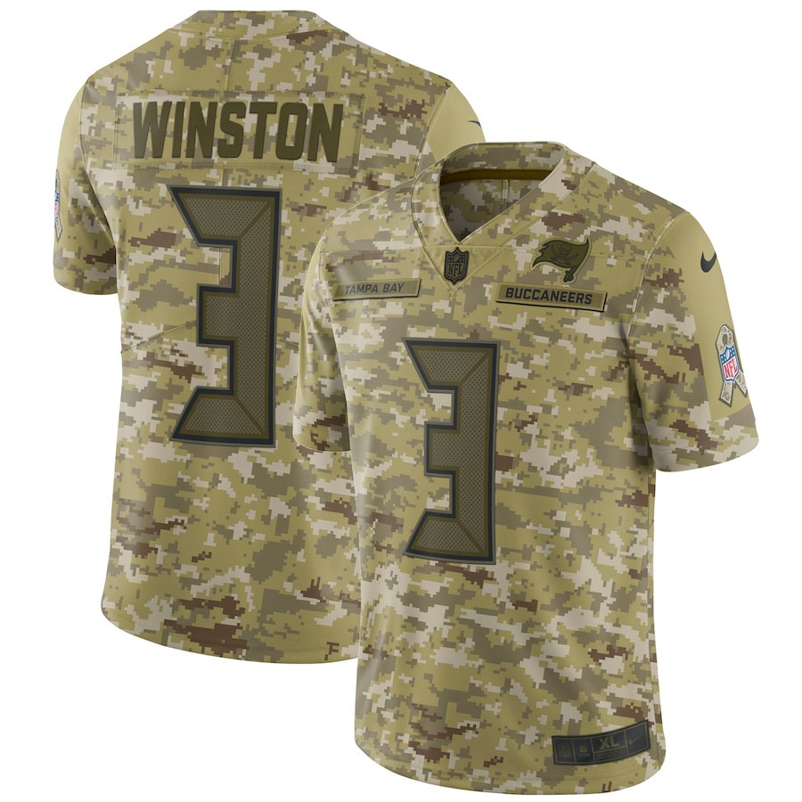 Men's Buccaneers #3 Jameis Winston 2018 Camo Salute to Service Limited Stitched NFL Jersey