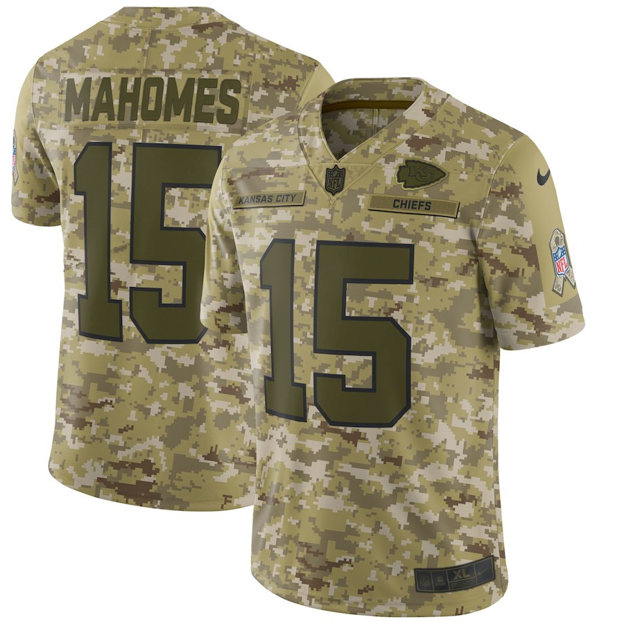 Men's Chiefs #15 Patrick Mahomes 2018 Camo Salute to Service Limited Stitched NFL Jersey