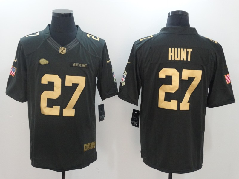 Men's Chiefs #27 Kareem Hunt Gold Anthracite Salute To Service Limited Stitched NFL Jersey