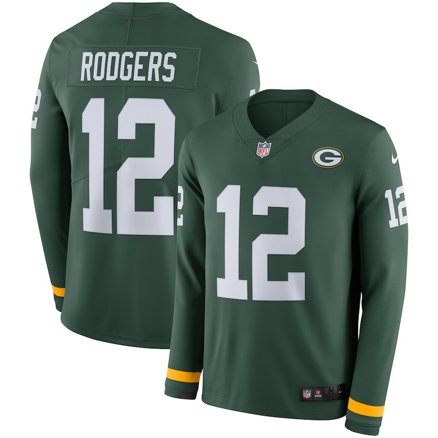 Men's Packers #12 Aaron Rodgers Green Therma Long Sleeve Stitched NFL Jersey