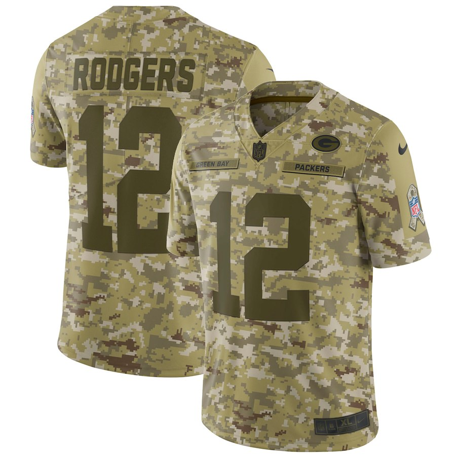 Men's Packers #12 Aaron Rodgers 2018 Camo Salute to Service Limited Stitched NFL Jersey