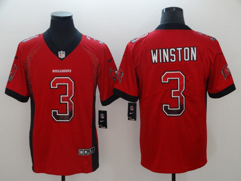 Men's Buccaneers #3 Jameis Winston Red 2018 Drift Fashion Color Rush Limited Stitched NFL Jersey