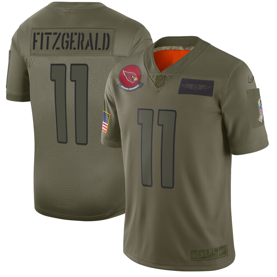 Men's Arizona Cardinals #11 Larry Fitzgerald 2019 Camo Salute To Service Limited Stitched NFL Jersey.