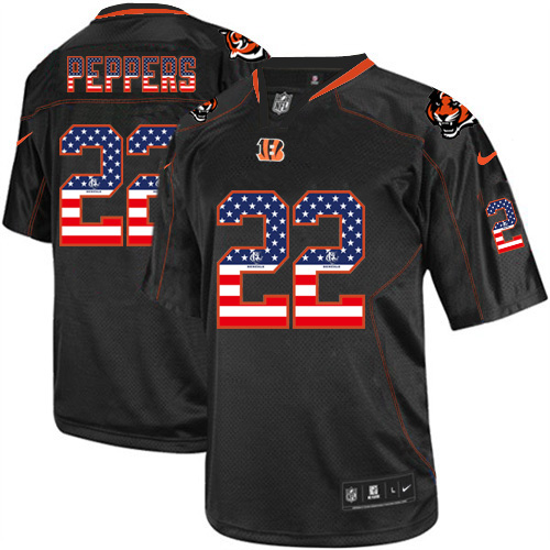 Men's Nike Browns #22 Jabrill Peppers Black USA Flag Fashion Elite Stitched Jersey