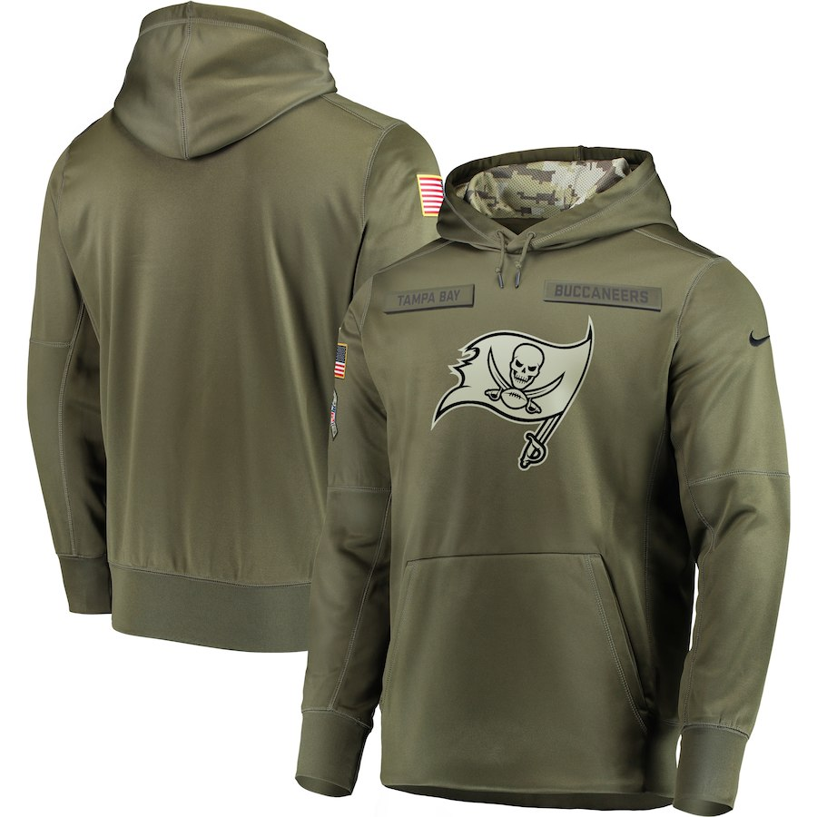 Men's Tampa Bay Buccaneers 2018 Olive Salute to Service Sideline Therma Performance Pullover Stitched NFL Hoodie