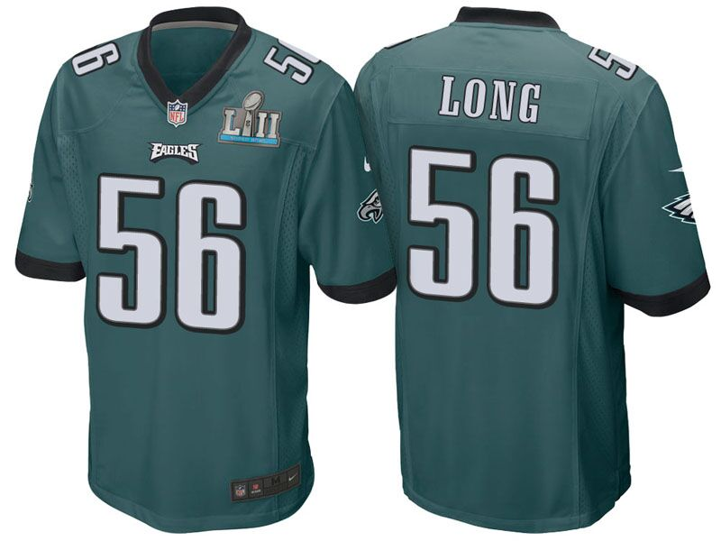 Men's Philadelphia Eagles #56 Chris Long Green Super Bowl LII Bound Game Event Stitched NFL Jersey