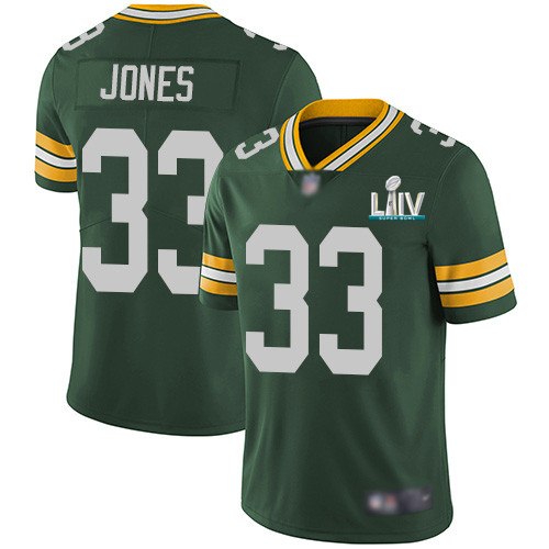 Men's Green Bay Packers #33 Aaron Jones Green Super Bowl LIV Vapor Untouchable Stitched NFL Limited Jersey