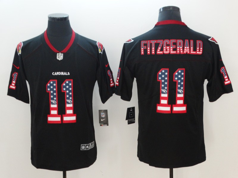Men's Cardinals #11 Larry Fitzgerald 2018 Black USA Flag Color Rush Limited Fashion NFL Stitched Jersey