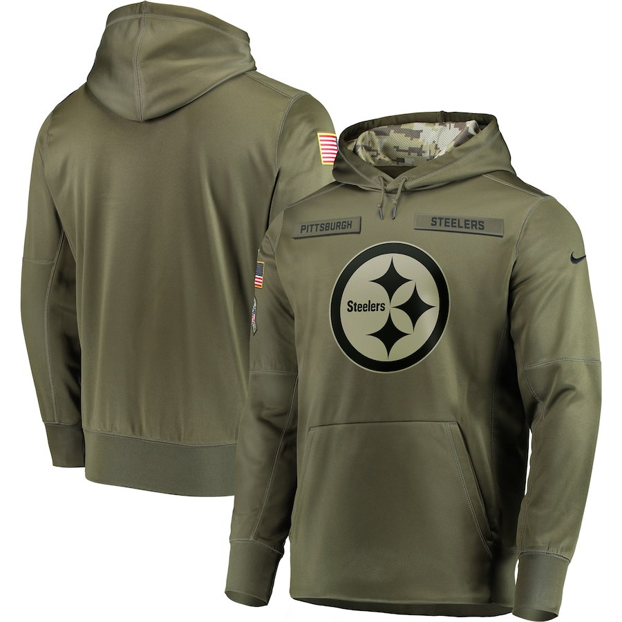 Men's Pittsburgh Steelers 2018 Olive Salute to Service Sideline Therma Performance Pullover Stitched NFL Hoodie