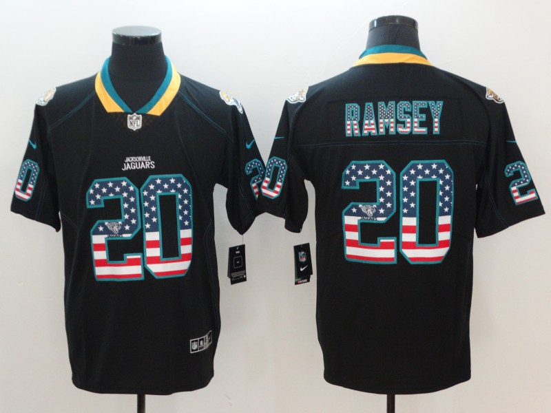 Men's Jaguars #20 Jalen Ramsey Black USA Flag Color Rush Limited Fashion NFL Stitched Jersey