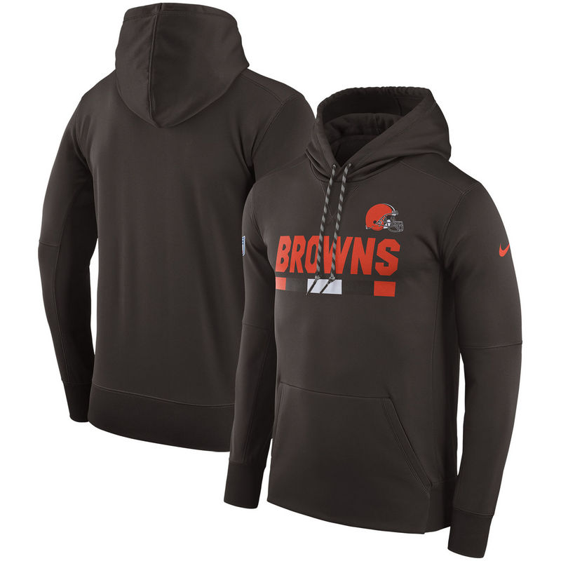 Men's Cleveland Browns Nike Brown Sideline Team Name Performance Pullover Hoodie