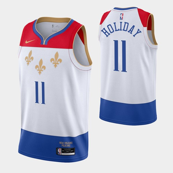 Men's New Orleans Pelicans #11 Jrue Holiday White City Edition New Uniform 2020-21 Stitched NBA Jersey