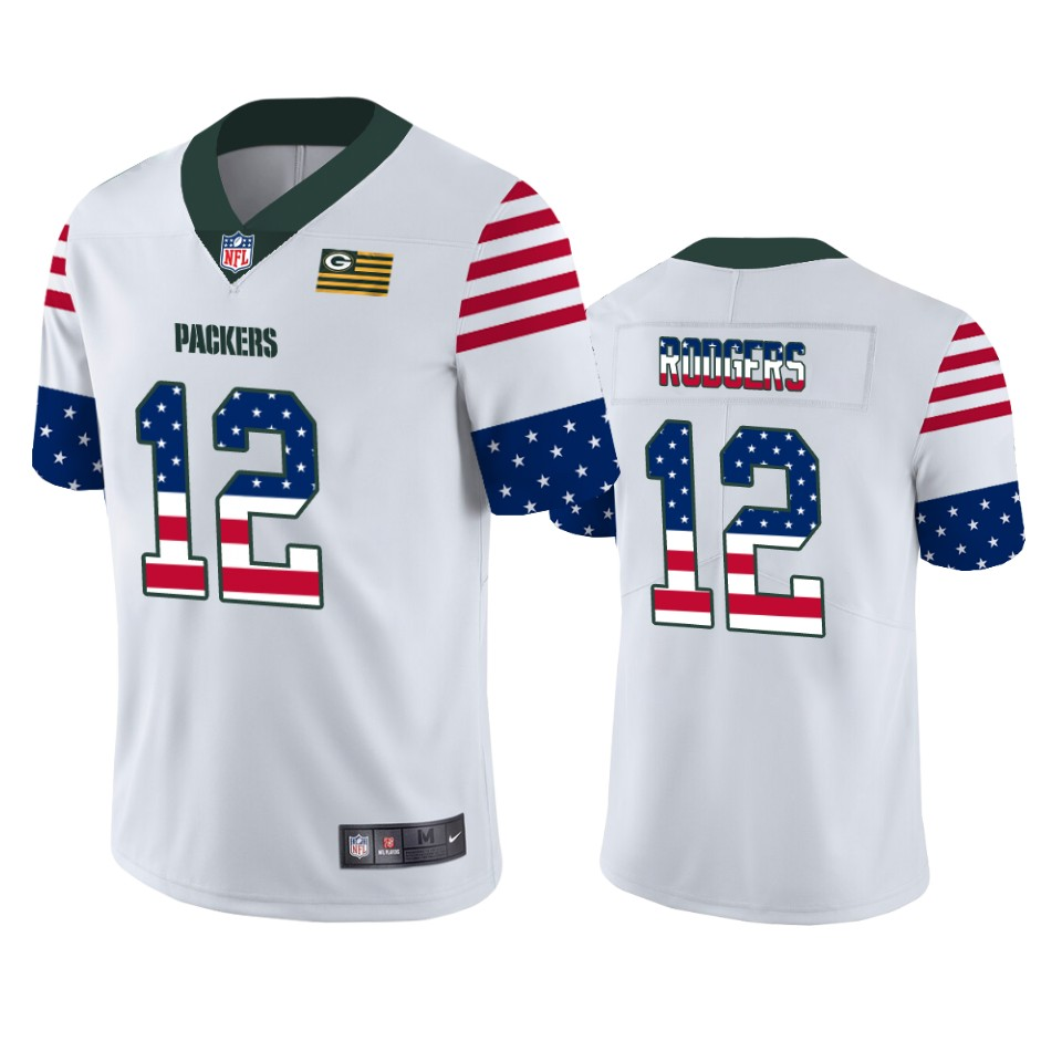 Men's Green Bay Packers #12 Aaron Rodgers White 2019 USA Flag Fashion Limited Stitched NFL Jersey