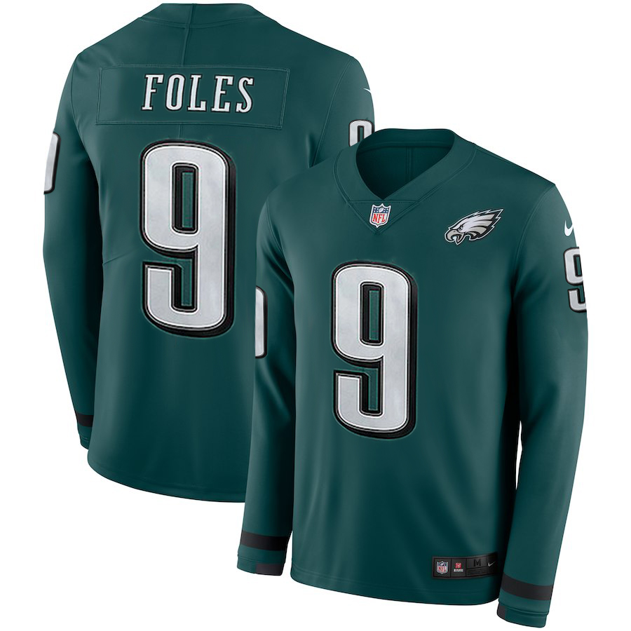 Men's Eagles #9 Nick Foles Green Therma Long Sleeve Stitched NFL Jersey