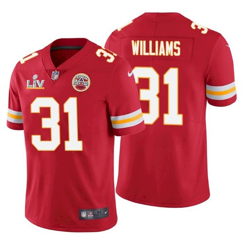 Men's Kansas City Chiefs #31 Darrel Williams Red 2021 Super Bowl LV Limited Stitched NFL Jersey