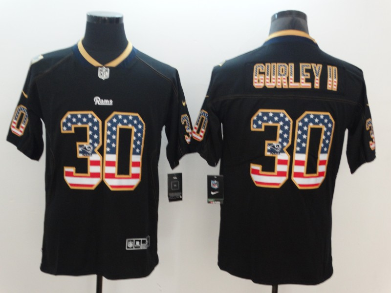 Men's Rams #30 Todd Gurley II Black USA Flag Color Rush Limited Fashion NFL Stitched Jersey