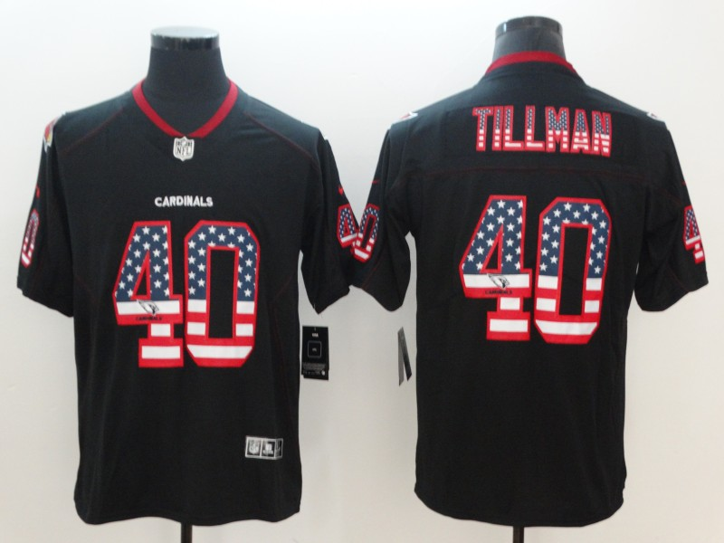 Men's Cardinals #40 Pat Tillman 2018 Black USA Flag Color Rush Limited Fashion NFL Stitched Jersey
