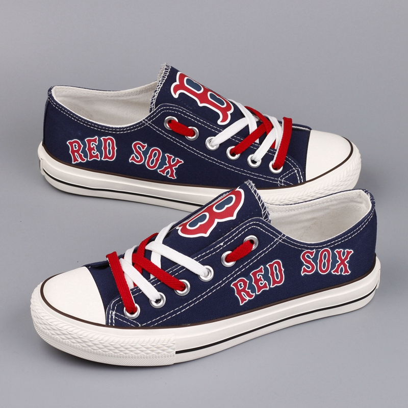 Women and Youth MLB Boston Red Sox Repeat Print Low Top Sneakers 003