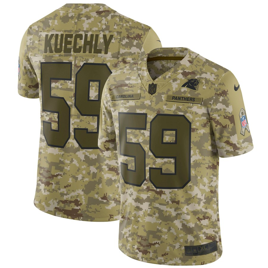 Men's Panthers #59 Luke Kuechly 2018 Camo Salute to Service Limited Stitched NFL Jersey