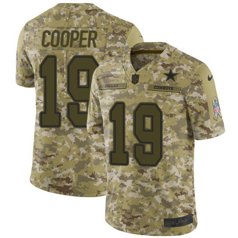 Men's Dallas Cowboys #19 Amari Cooper 2018 Camo Salute To Service Limited Stitched NFL Jersey