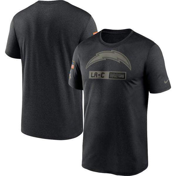 Men's Los Angeles Chargers 2020 Black Salute To Service Performance NFL T-Shirt