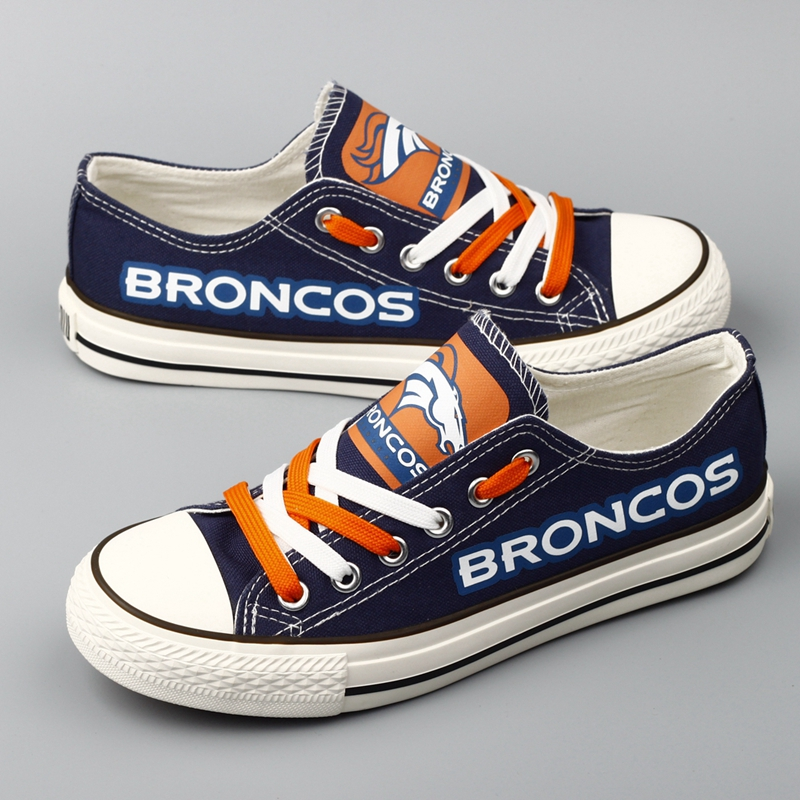 Women Or Youth NFL Denver Broncos Repeat Print Low Top Sneakers 007
