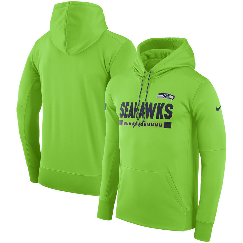 Men's Seattle Seahawks Nike Neon Green Sideline Team Name Performance Pullover Hoodie