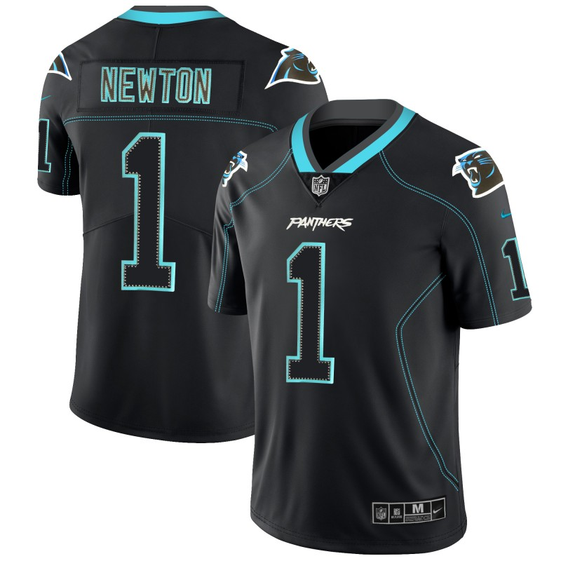 Men's Panthers #1 Cam Newton Black NFL 2018 Lights Out Black Color Rush Limited Stitched Jersey