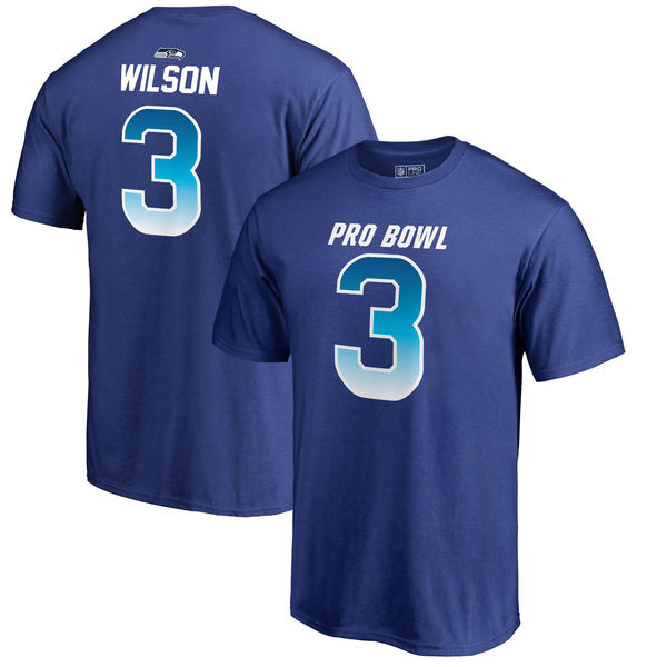 Seahawks Russell Wilson AFC Pro Line 2018 NFL Pro Bowl Royal T-Shirt
