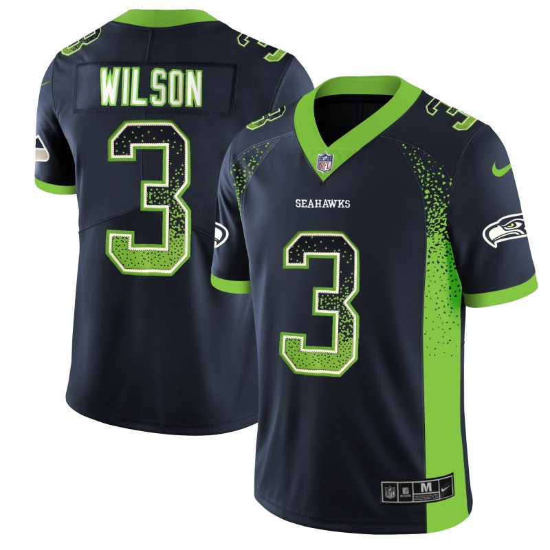 Men's Seahawks #3 Russell Wilson Green 2018 Drift Fashion Color Rush Limited Stitched NFL Jersey