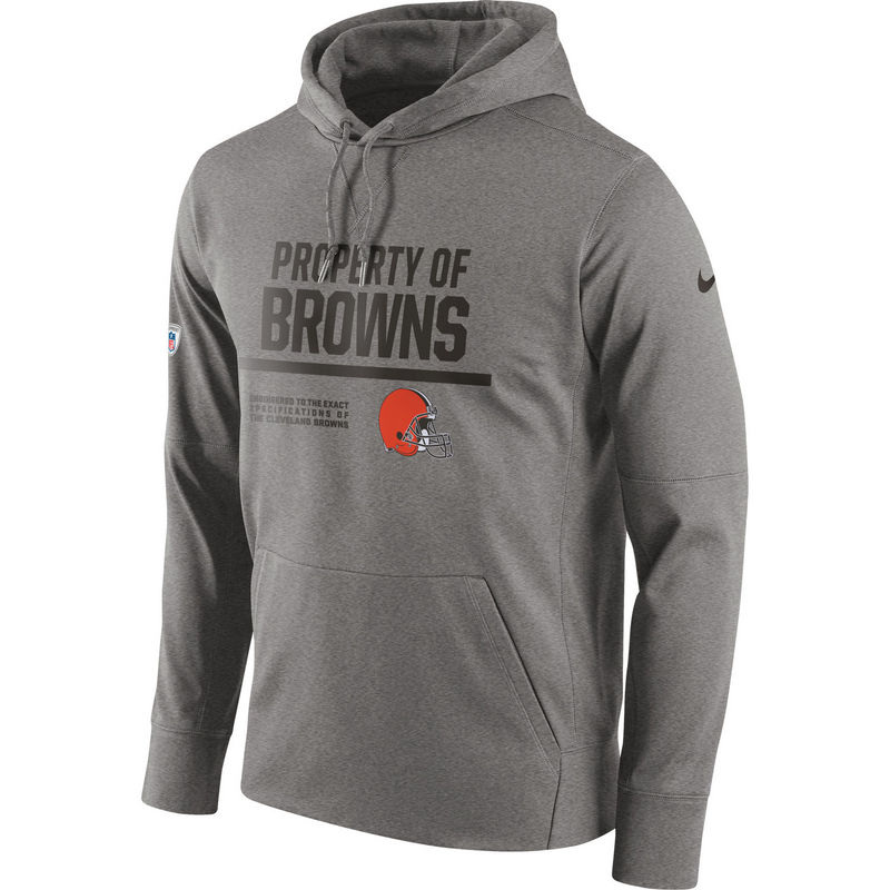 Men's Cleveland Browns Nike Gray Circuit Property Of Performance Pullover Hoodie