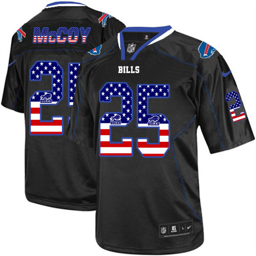 Men's Nike Bills #25 LeSean McCoy Black USA Flag Fashion Elite Stitched Jersey