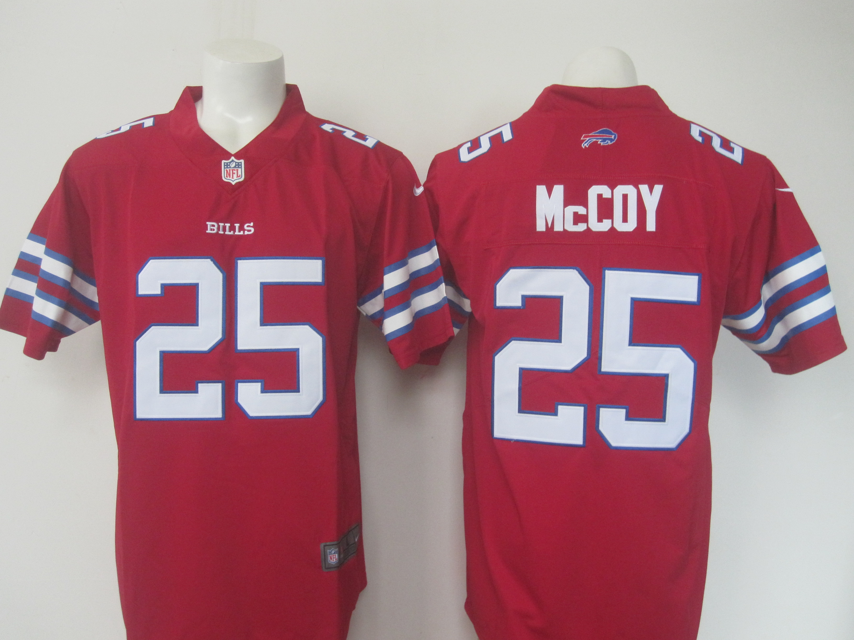 Men's Nike Bills #25 LeSean McCoy Red Limited Rush Stitched NFL Jersey