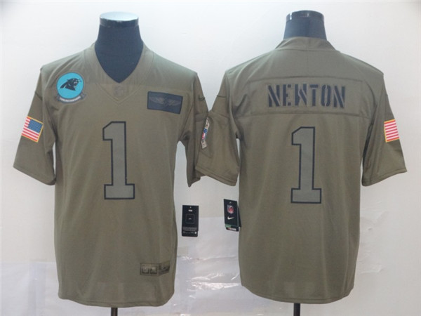 Men's Carolina Panthers #1 Cam Newton 2019 Camo Salute To Service Limited Stitched NFL Jersey