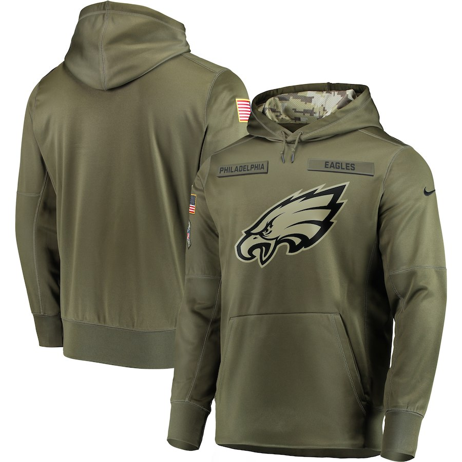 Men's Philadelphia Eagles 2018 Olive Salute to Service Sideline Therma Performance Pullover Stitched NFL Hoodie