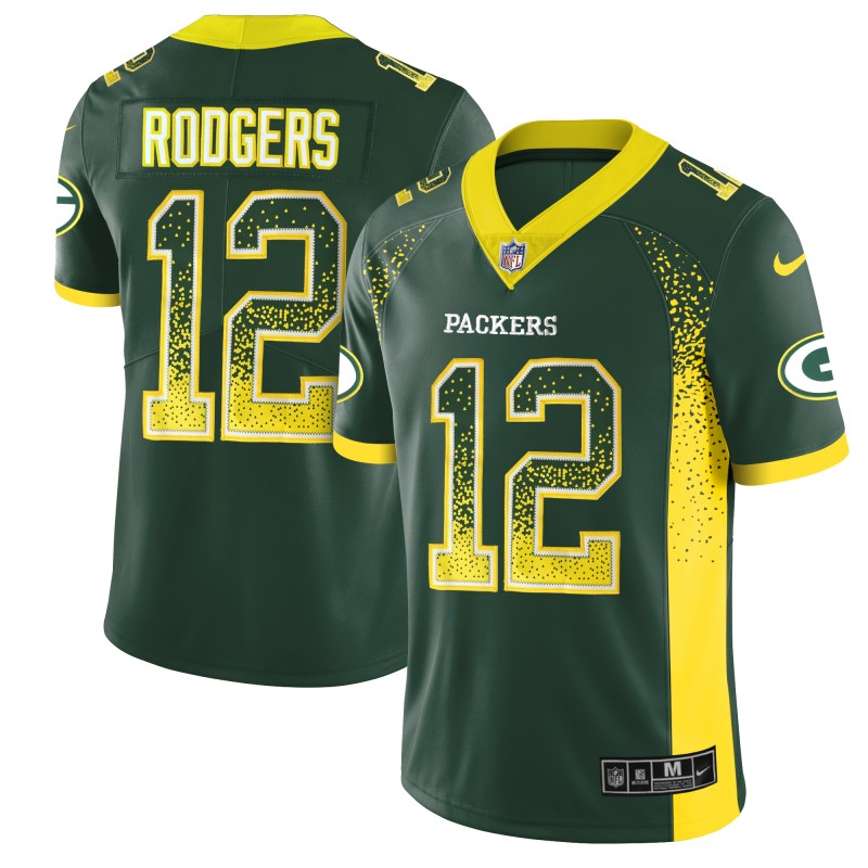 Men's Packers #12 Aaron Rodgers Green 2018 Drift Fashion Color Rush Limited Stitched NFL Jersey