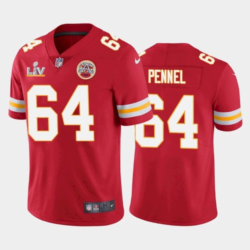 Men's Kansas City Chiefs #64 Mike Pennel Red 2021 Super Bowl LV Limited Stitched NFL Jersey