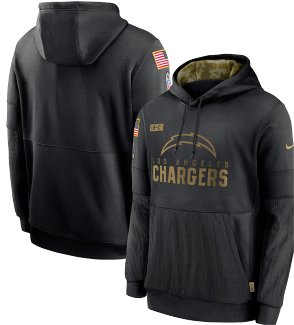Men's Los Angeles Chargers 2020 Black Salute to Service Sideline Performance Pullover NFL Hoodie
