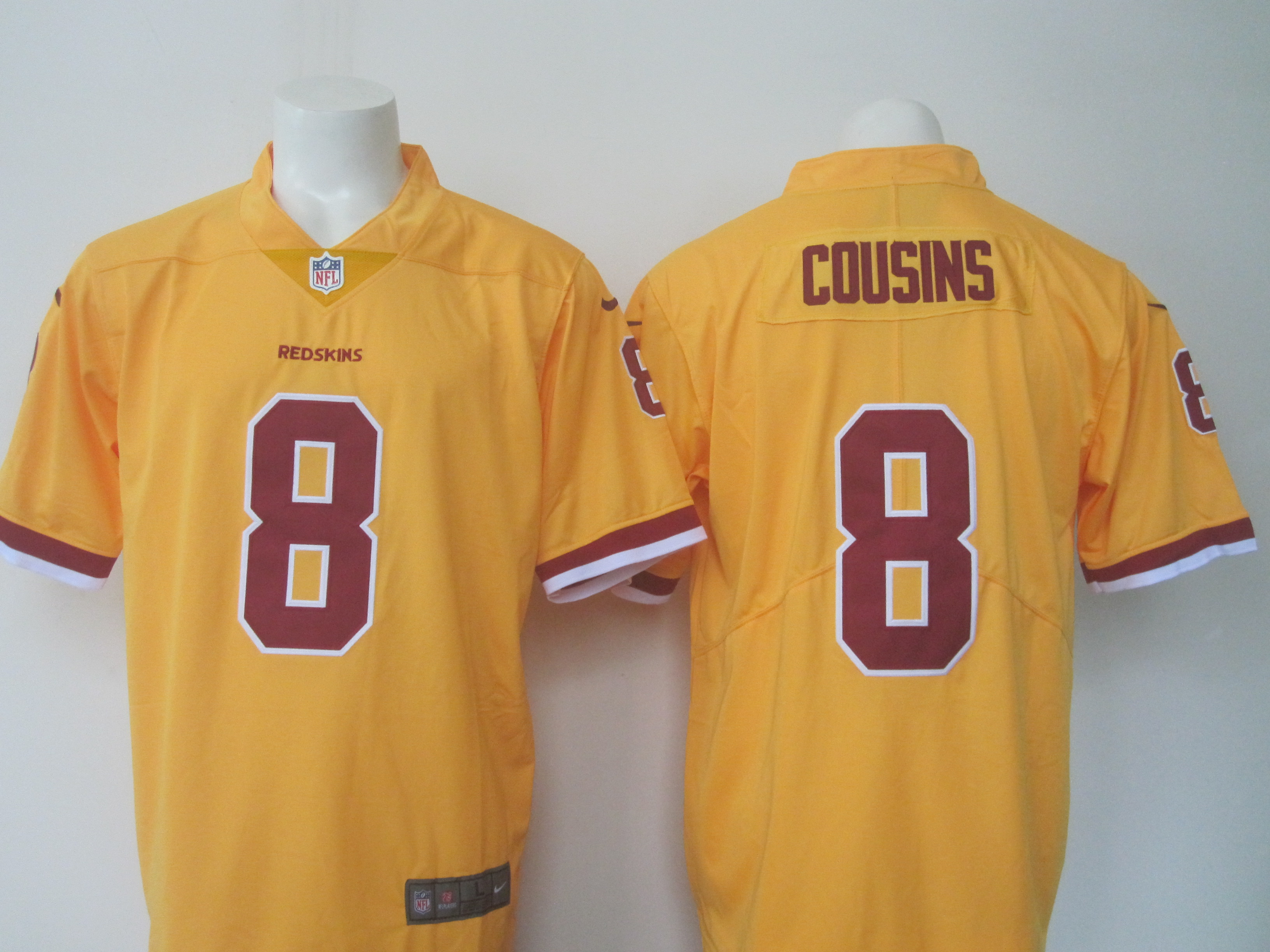 Men's Nike Redskins #8 Kirk Cousins Yellow Limited Rush Stitched NFL Jersey