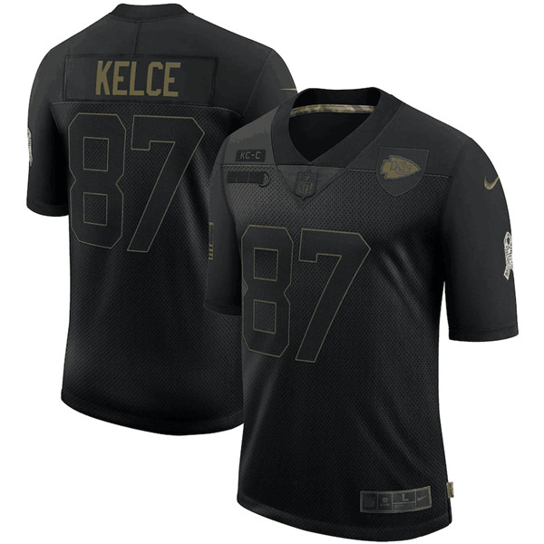 Men's Kansas City Chiefs #87 Travis Kelce Black 2020 Salute To Service Limited Stitched NFL Jersey