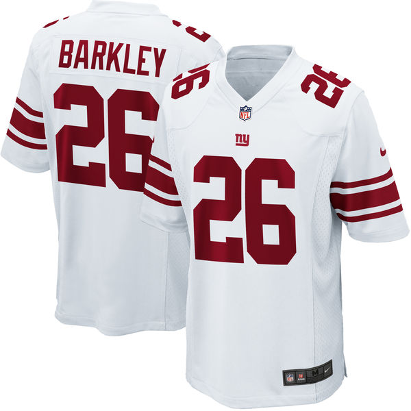 Men's New York Giants #26 Saquon Barkley White 2018 NFL Draft Pick Game Jersey
