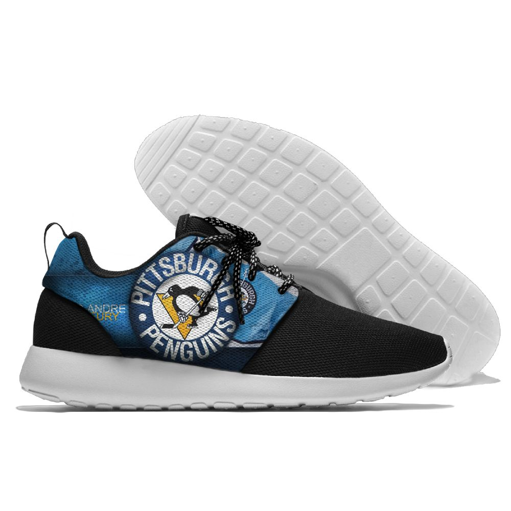Women's NHL Pittsburgh Penguins Roshe Style Lightweight Running Shoes 003
