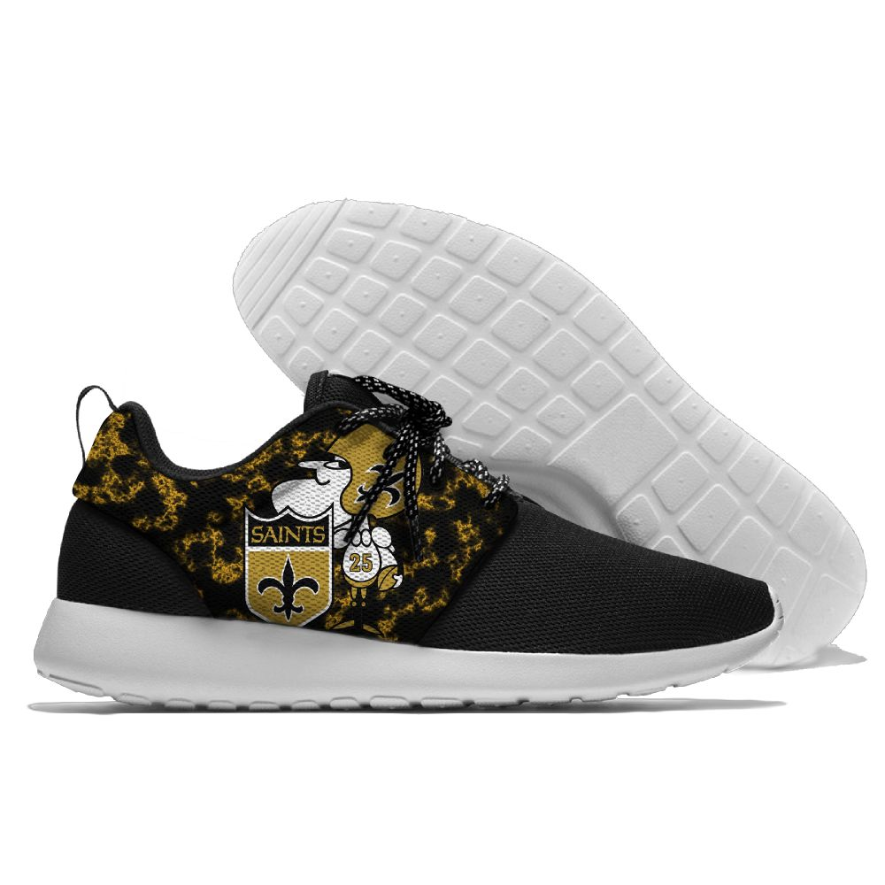 Men's NFL New Orleans Saints Roshe Style Lightweight Running Shoes 003