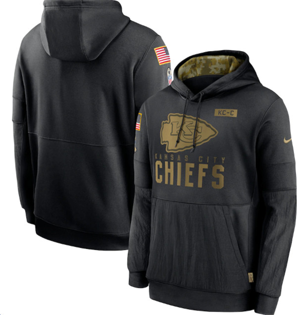 Men's Kansas City Chiefs 2020 Black Salute to Service Sideline Performance Pullover NFL Hoodie